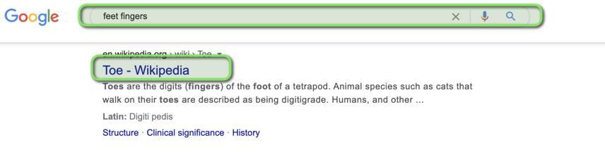 Feet fingers semantic relevance