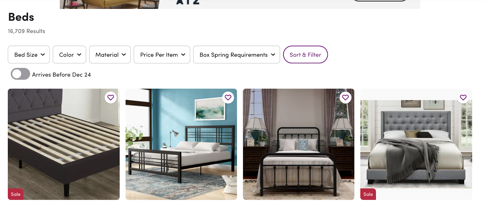 Wayfair faceted navigation